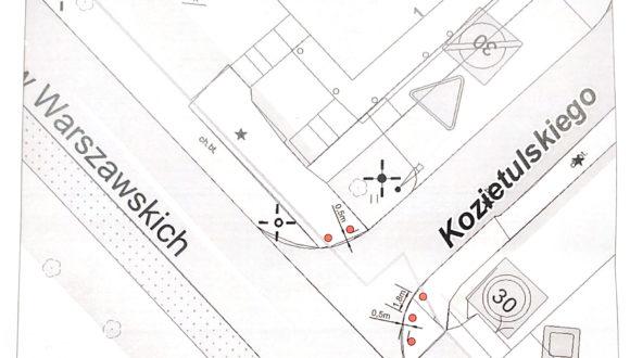 Niewłaściwie parkujące samochody na wyjeździe z ul. Kozietulskiego