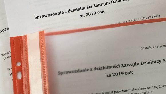 Sprawozdanie z działalności Zarządu Dzielnicy Aniołki za 2019 rok