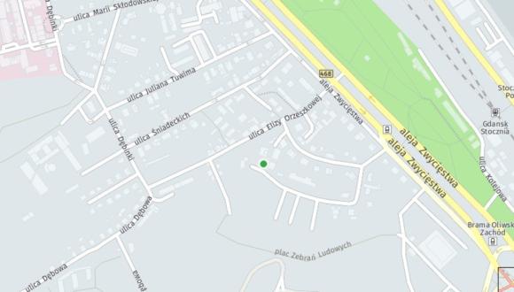 Informacja o terenie łączącym ul. Kopernika z ul. Orzeszkowej