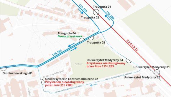🚌 Linie 115, 283: zmiana trasy na Aniołkach,  krótszy czas dojazdu do UCK 🚌